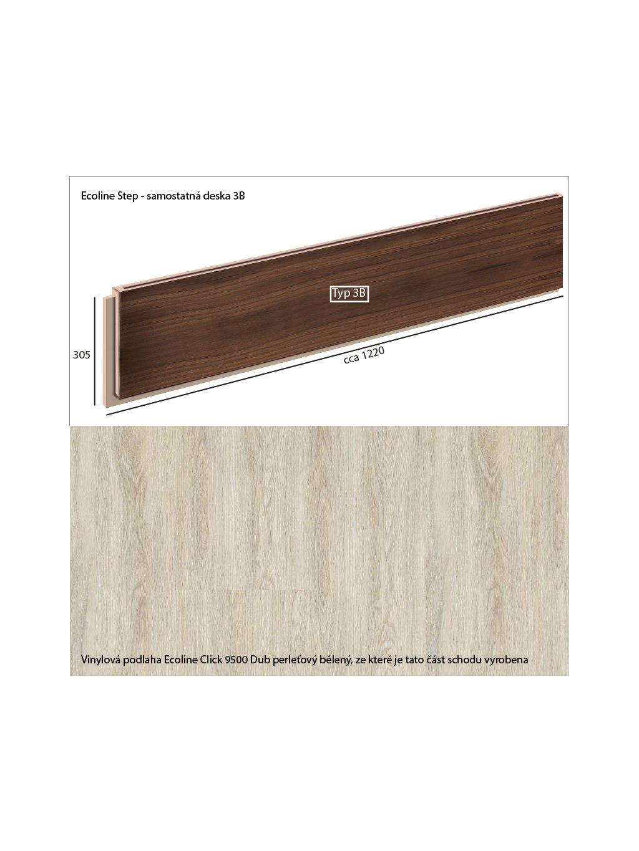 Vinylové schody Ecoline Step samostatná deska 3B Ecoline Click 9500 Dub perleťový bělený