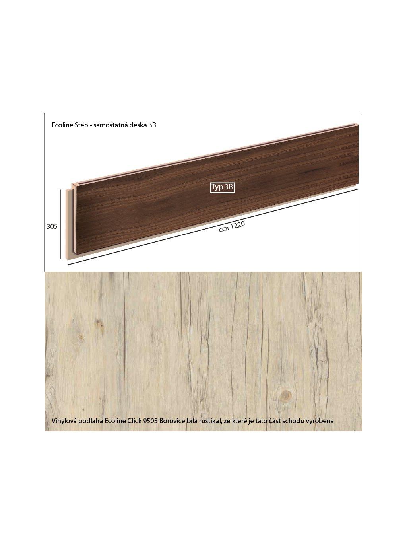 Vinylové schody Ecoline Step samostatná deska 3B Ecoline Click 9503 Borovice bílá rustikal