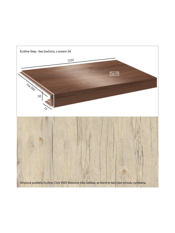 Vinylové schody Ecoline Step bez bočnice, s nosem 3A Ecoline Click 9503 Borovice bílá rustikal