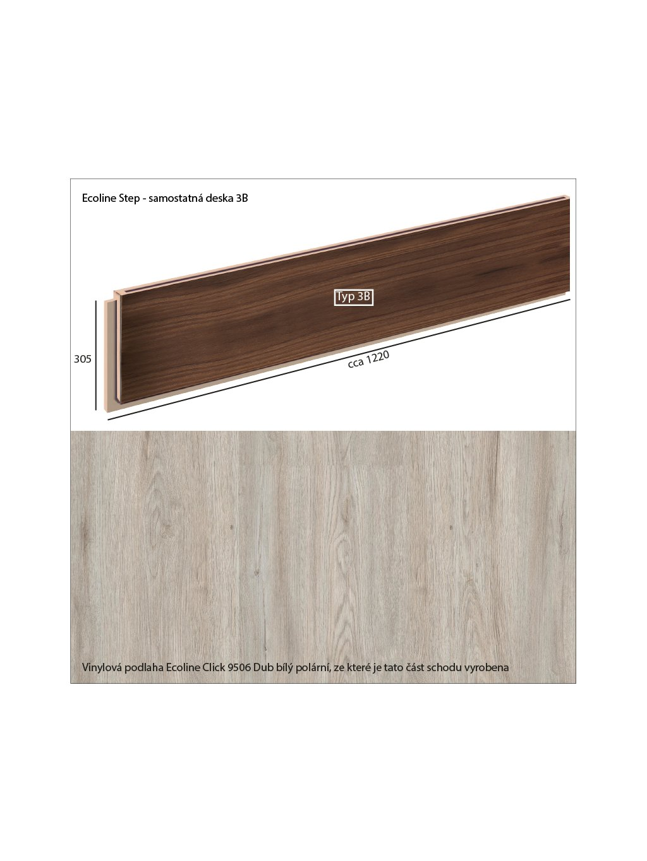 Vinylové schody Ecoline Step samostatná deska 3B Ecoline Click 9506 Dub bílý polární
