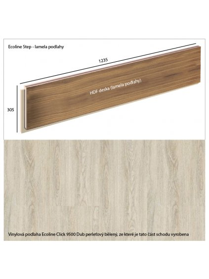Vinylové schody Ecoline Step lamela podlahy Ecoline Click 9500 Dub perleťový bělený