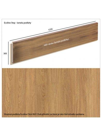 Vinylové schody Ecoline Step lamela podlahy Ecoline Click 9501 Dub přírodní