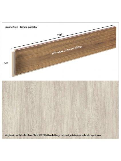 Vinylové schody Ecoline Step lamela podlahy Ecoline Click 9502 Kaštan bělený