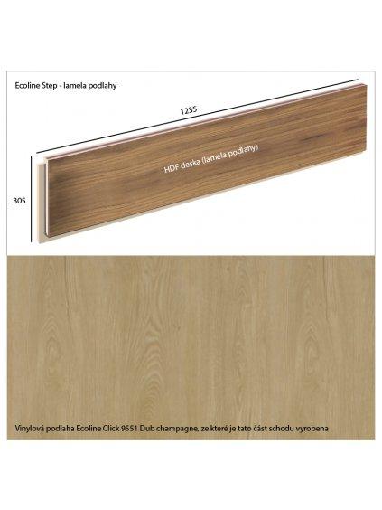 Vinylové schody Ecoline Step lamela podlahy Ecoline Click 9551 Dub champagne