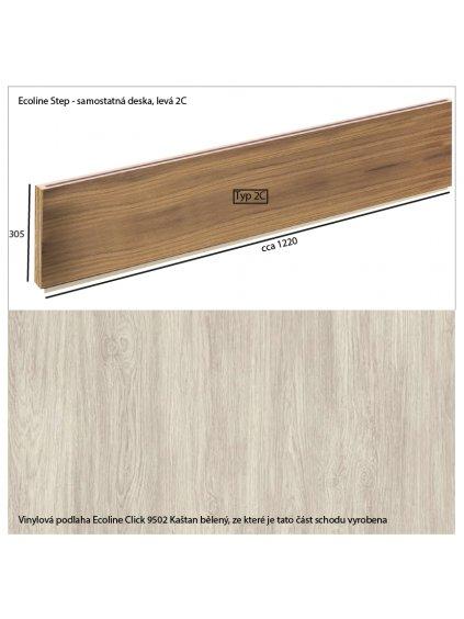 Vinylové schody Ecoline Step samostatná deska 2C Ecoline Click 9502 Kaštan bělený