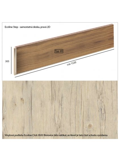 Vinylové schody Ecoline Step samostatná deska, pravá 2D Ecoline Click 9503 Borovice bílá rustikal