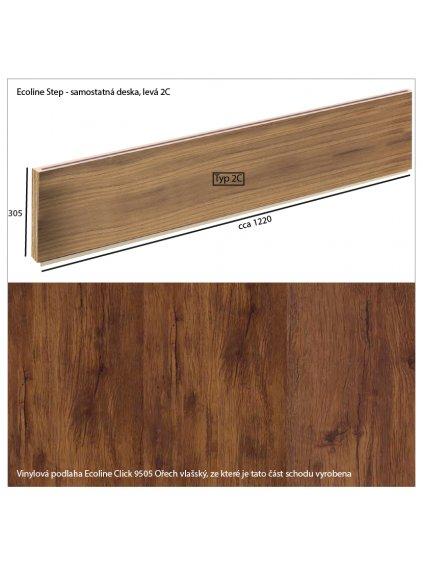 Vinylové schody Ecoline Step samostatná deska 2C Ecoline Click 9505 Ořech vlašský