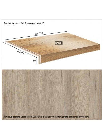 Vinylové schody Ecoline Step s bočnicí, bez nosu, pravá 2B Ecoline Click 9553 Dub bílý pískový