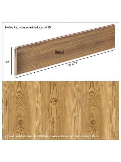 Vinylové schody Ecoline Step samostatná deska, pravá 2D Ecoline Click 9562 Modřín vita