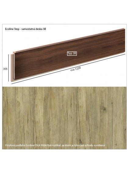 Vinylové schody Ecoline Step samostatná deska 3B Ecoline Click 9504 Buk rustikal