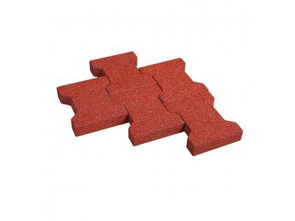Červená gumová zámková dlažba KA1 FLOMA - délka 20 cm, šířka 16,5 cm a výška 4,3 cm