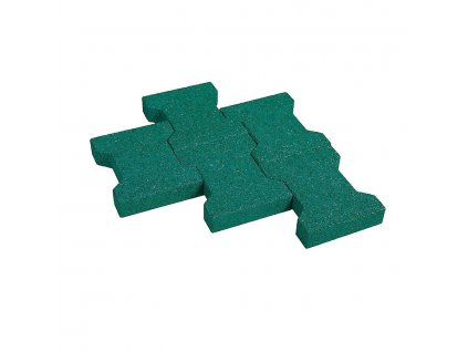 Zelená gumová zámková dlažba KA1 FLOMA - délka 20 cm, šířka 16,5 cm a výška 4,3 cm