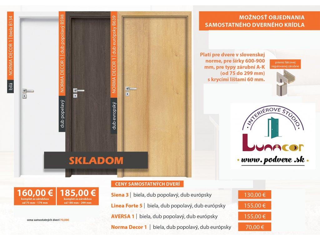 Invado NORMA DECOR 1 dvere+zárubňa SKLADOM