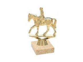 Figurka zlatá kůň s jezdcem