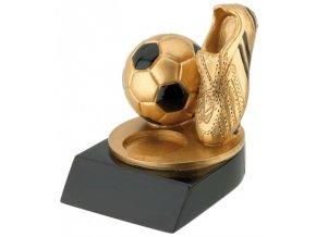 Soška zlatá fotbalová kopačka s míčem