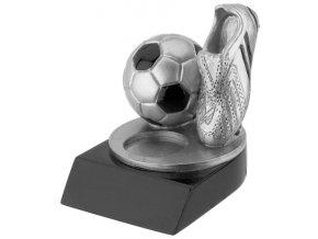 Soška stříbrná fotbalová kopačka s míčem
