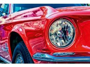 Auto, ford, červený