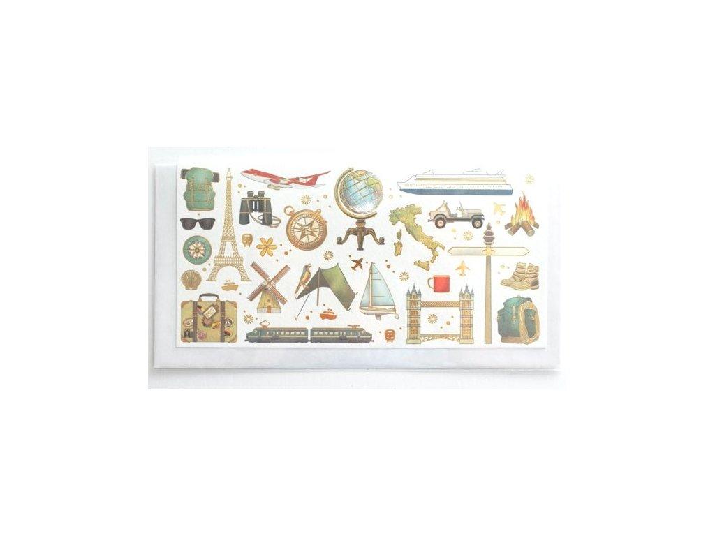 Blahopřání s obálkou na peníze - Cestování