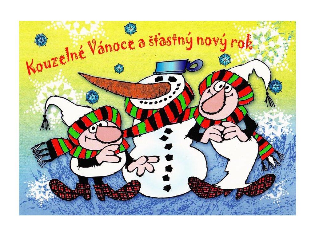 Pohlednice Vánoční Křemílek a Vochomůrka