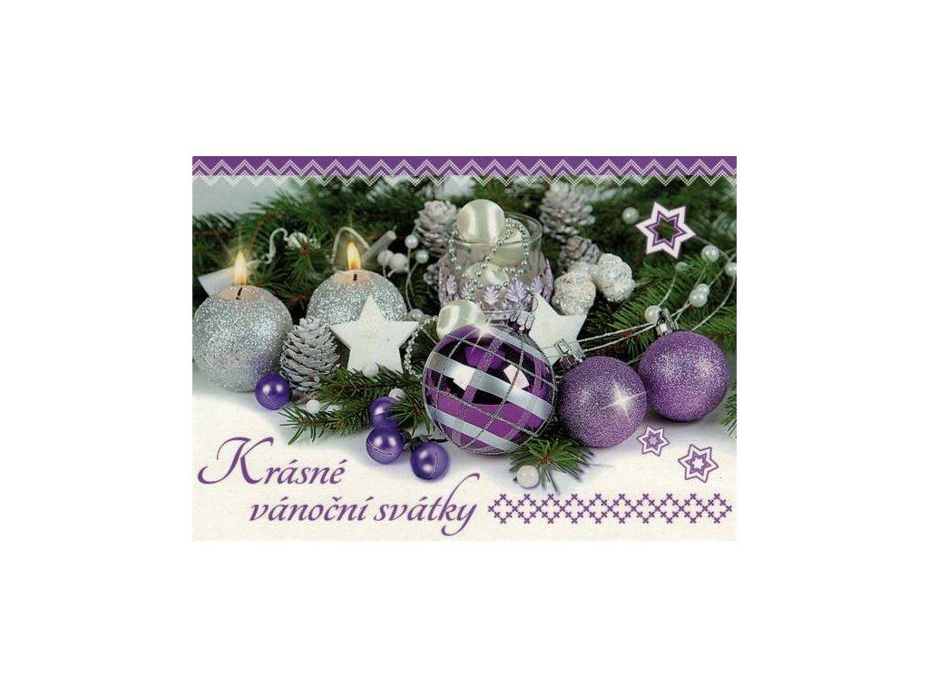 Pohlednice Vánoční - fialová