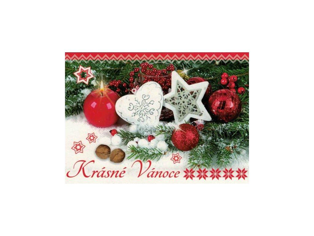 Pohlednice Vánoční - červená