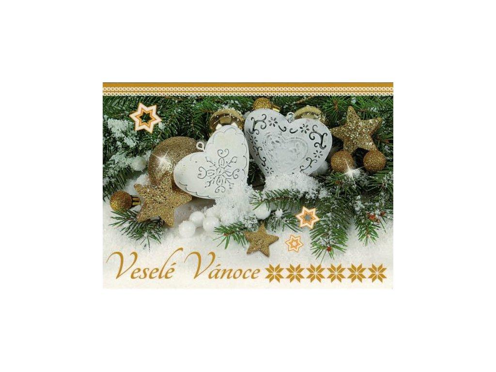 Pohlednice Vánoční - srdíčka