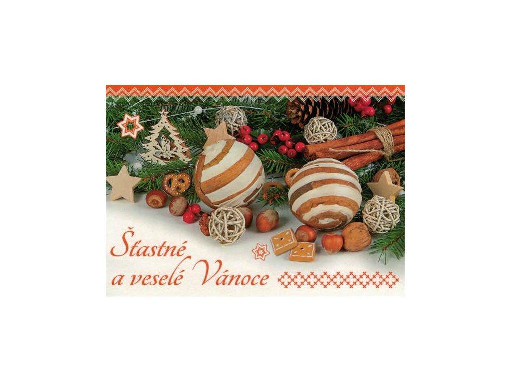 Pohlednice Vánoční - oranžová