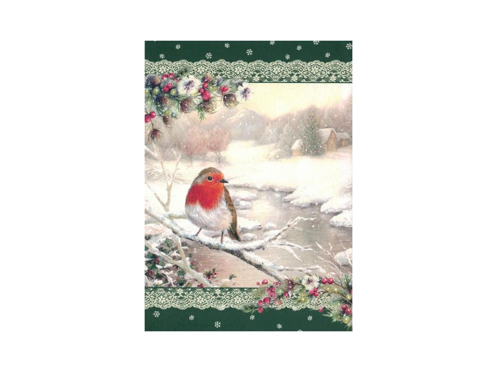 Pohlednice Vánoční - ptáček
