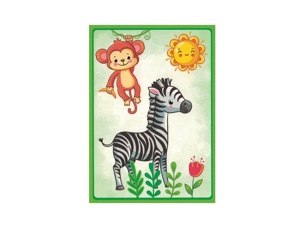 Pohlednice Zebra s opičkou