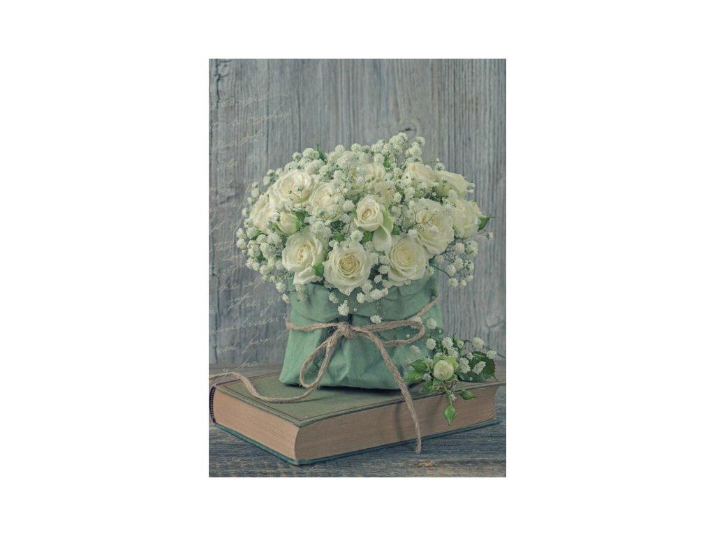 Pohlednice Kniha s růží