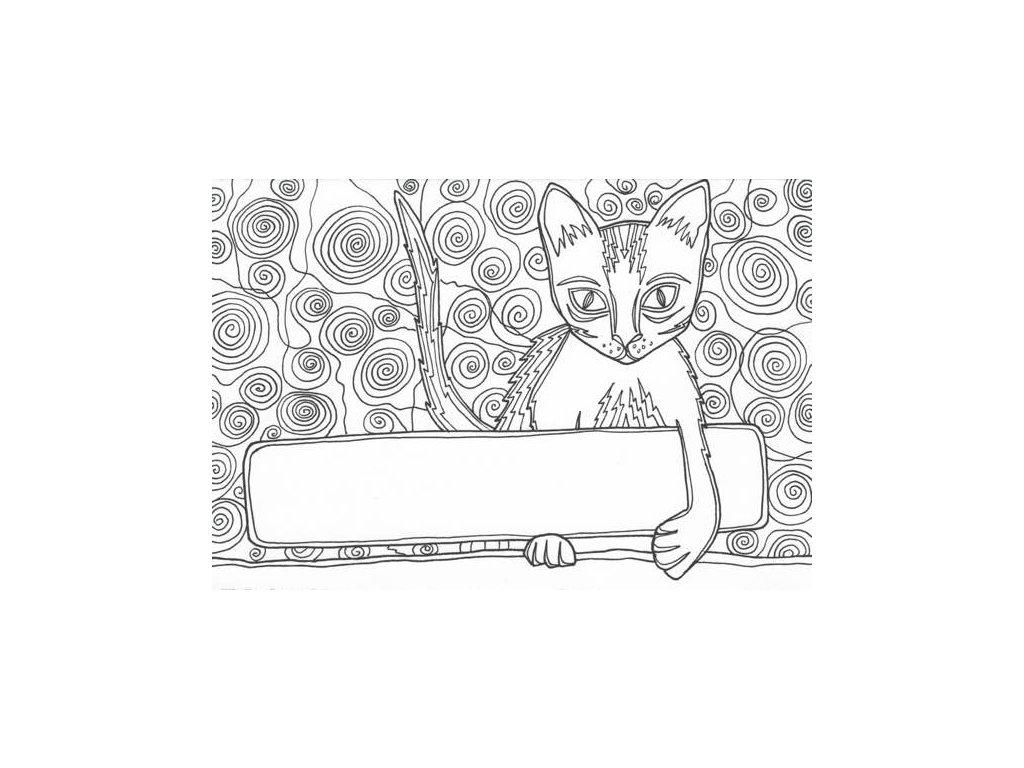 Pohlednice k vymalování - kočička