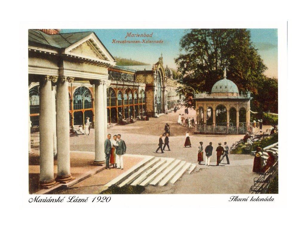 Pohlednice Mariánské Lázně - Hlavní kolonáda (1920)