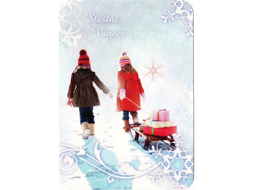 Vánoční pohlednice třpyt 78