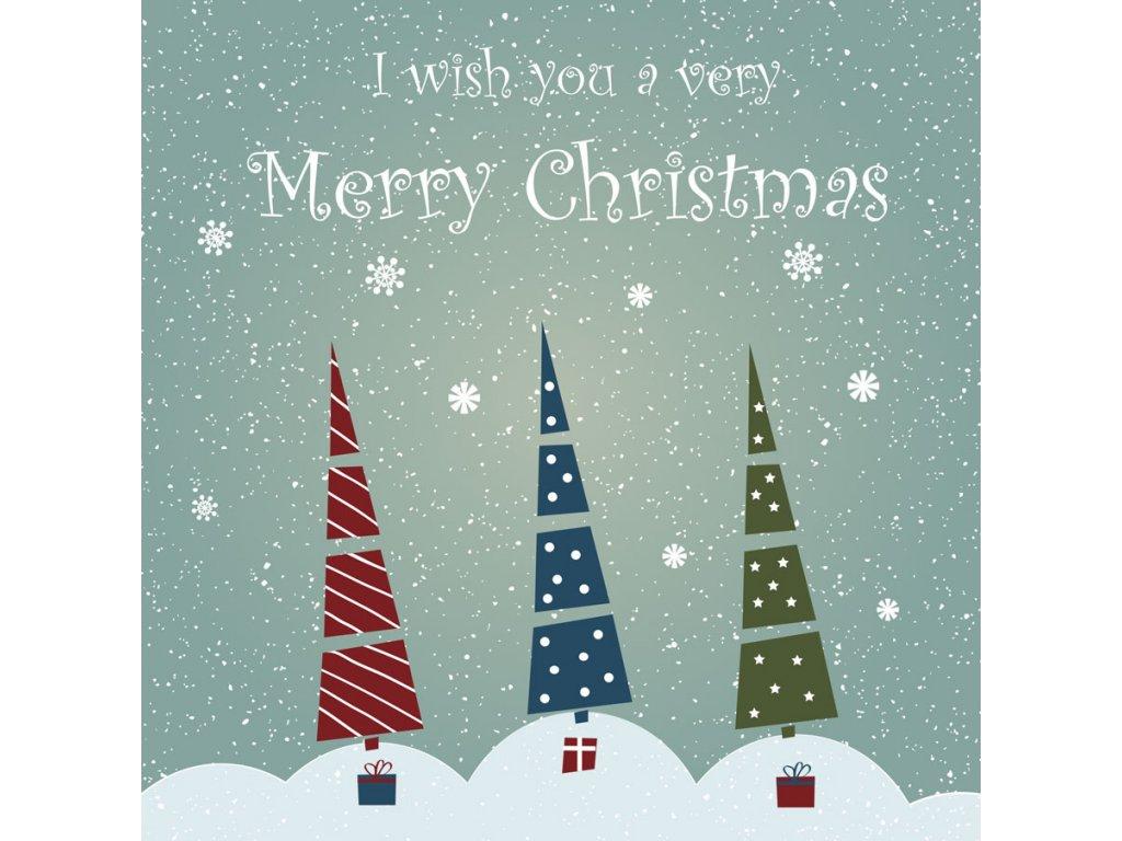 Pohlednice Merry Christmas stromečky