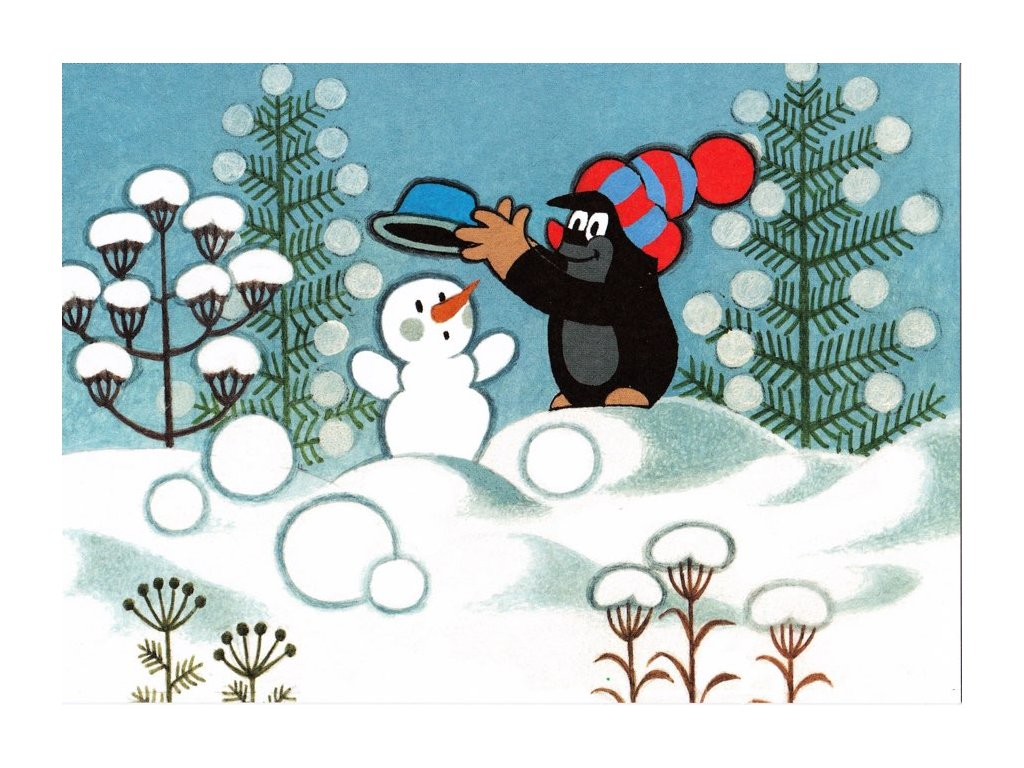 Pohlednice Krteček a sněhulák