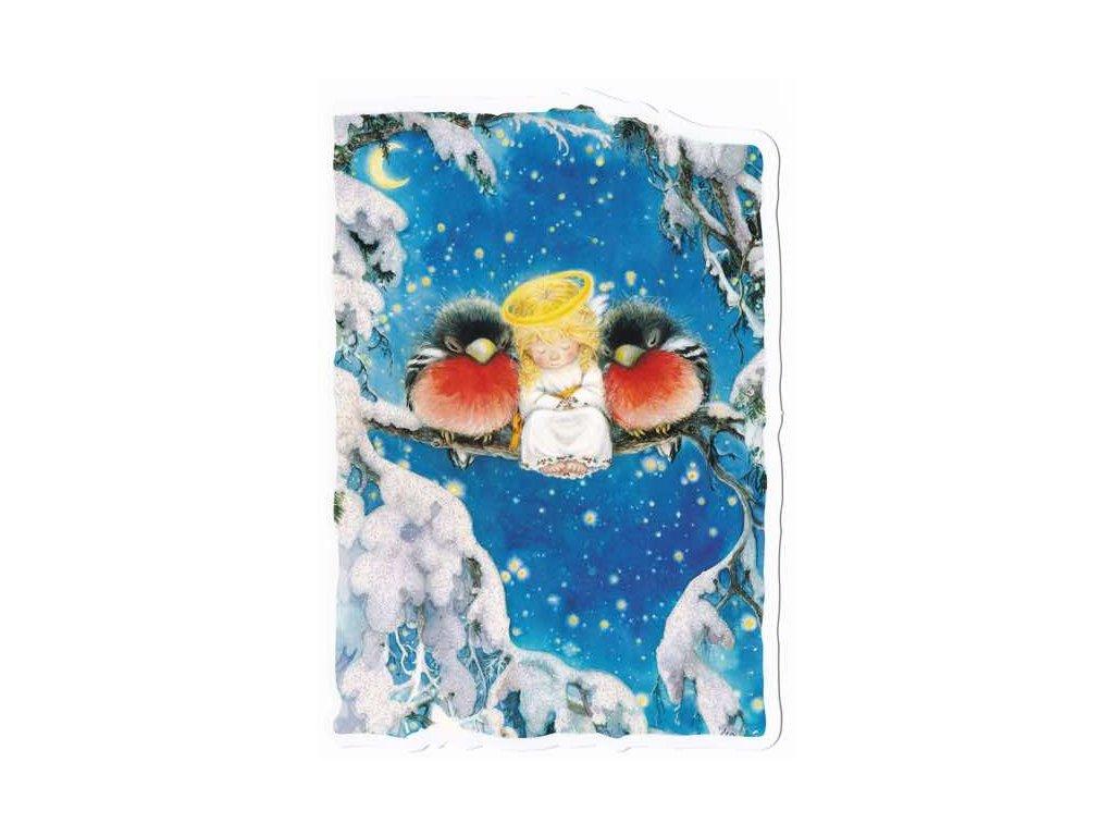 Vánoční pohlednice Andílek s ptáčky