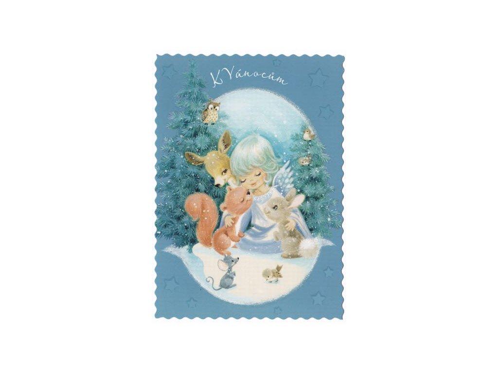 Vánoční pohlednice Andílek se zvířátky