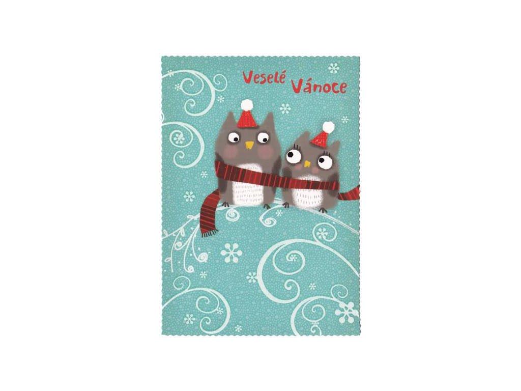 Vánoční pohlednice Sovičky