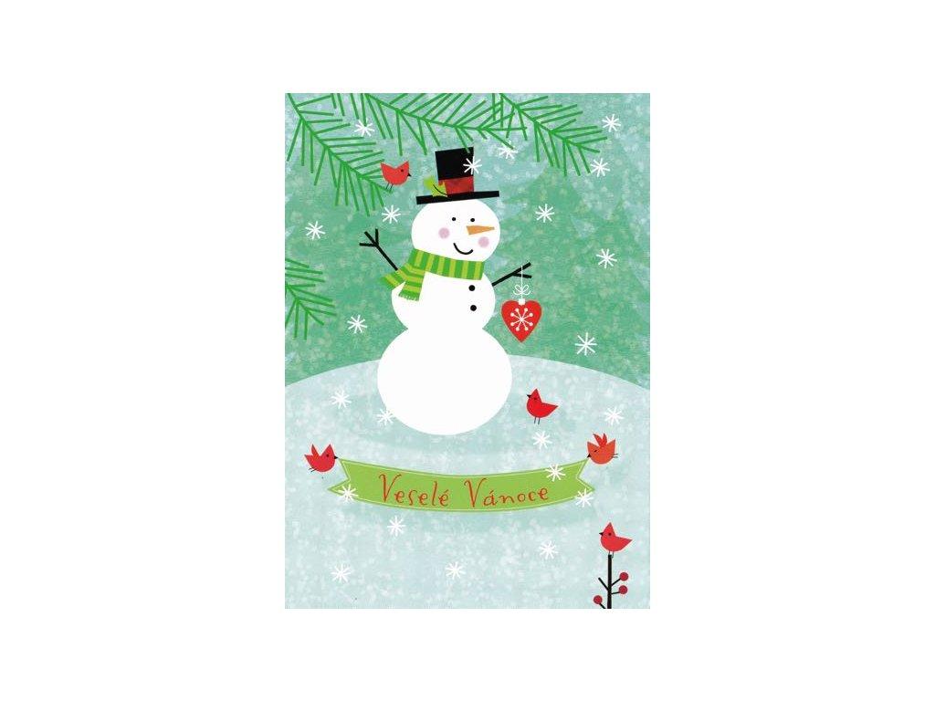 Pohlednice Vánoční sněhulák