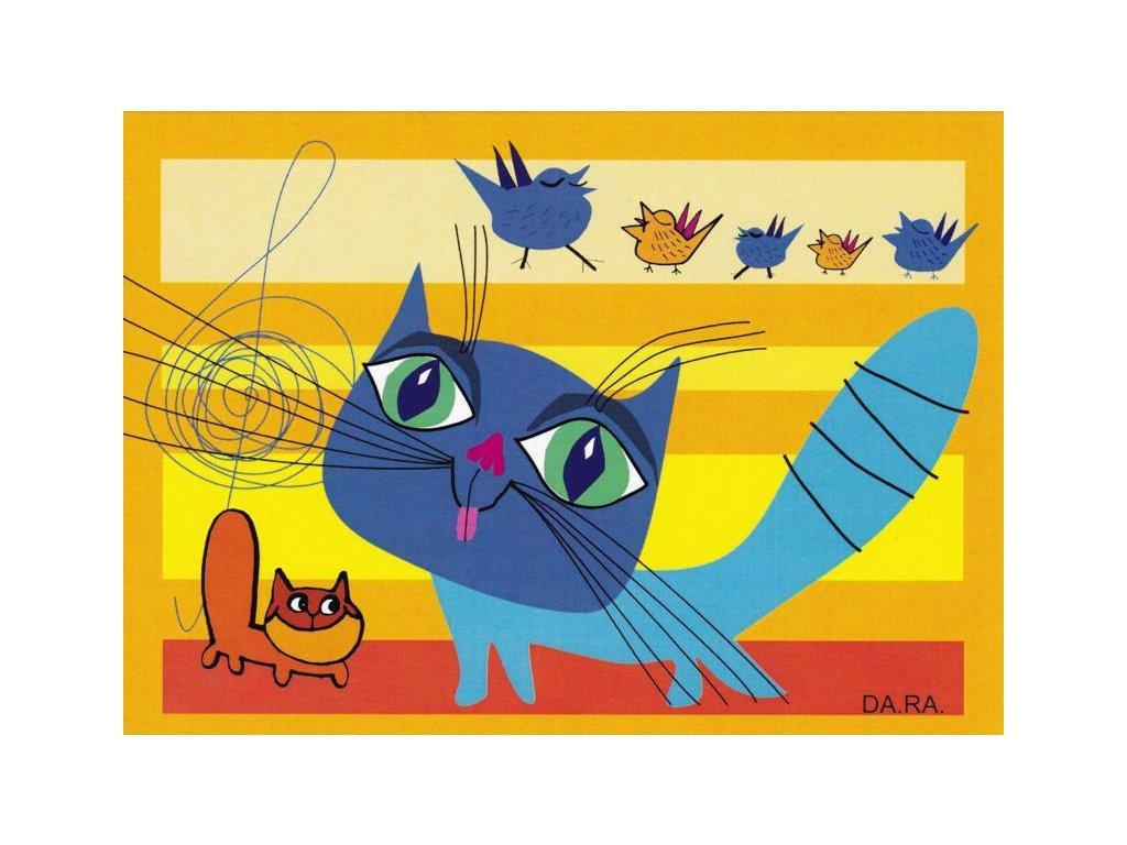 Pohlednice Kočička a ptáčci