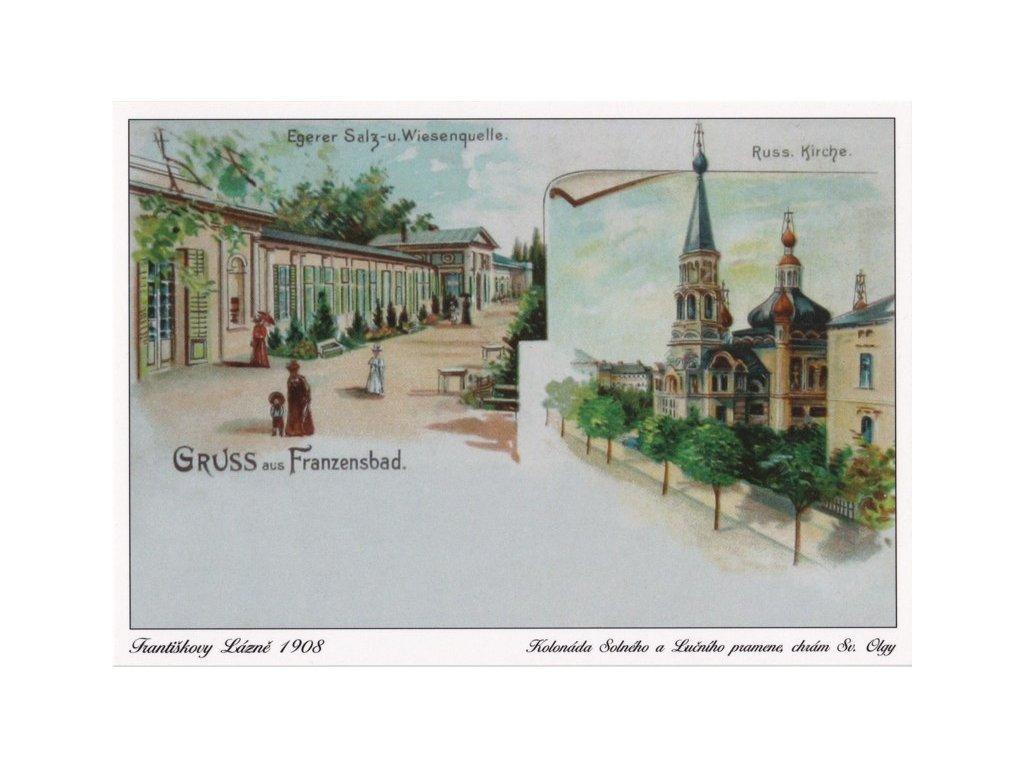 Pohlednice Františkovy Lázně 1908 - Kolonáda