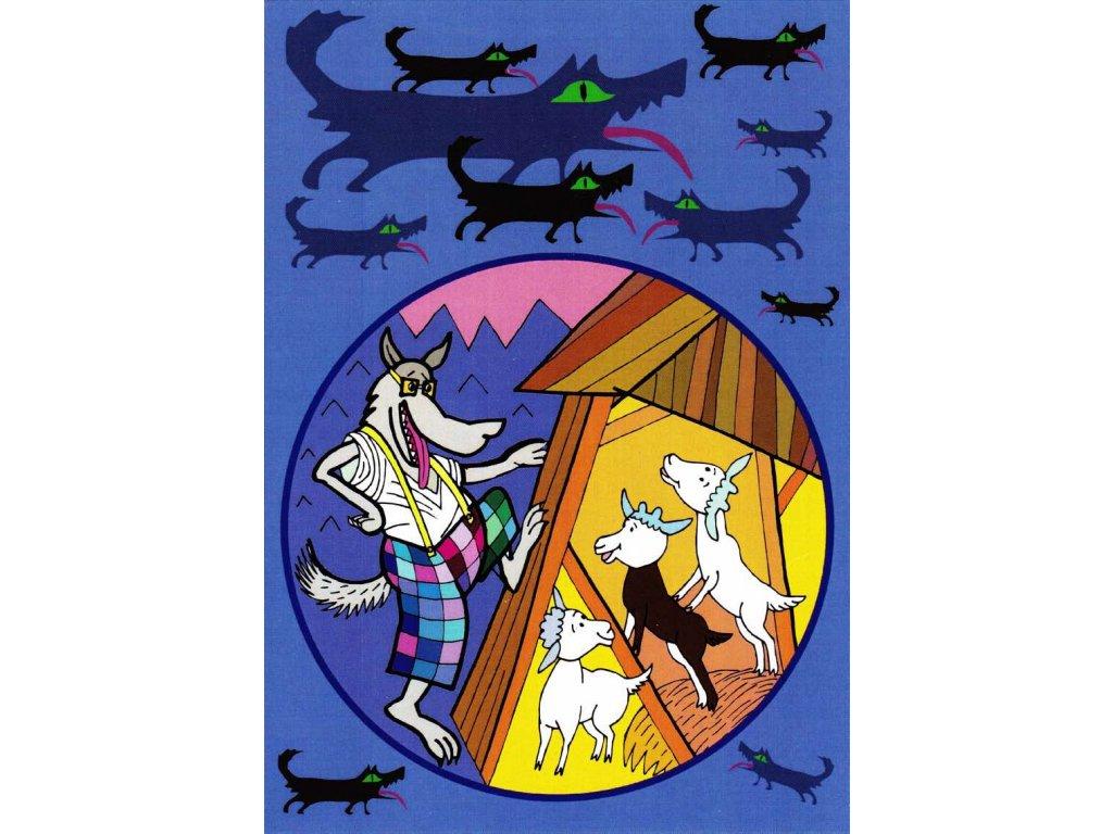 Pohlednice Vlk a kůzlátka