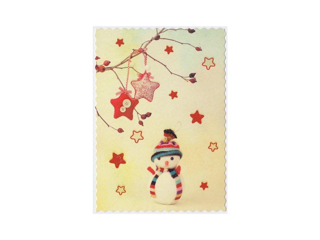 Pohlednice Vánoční sněhuláček