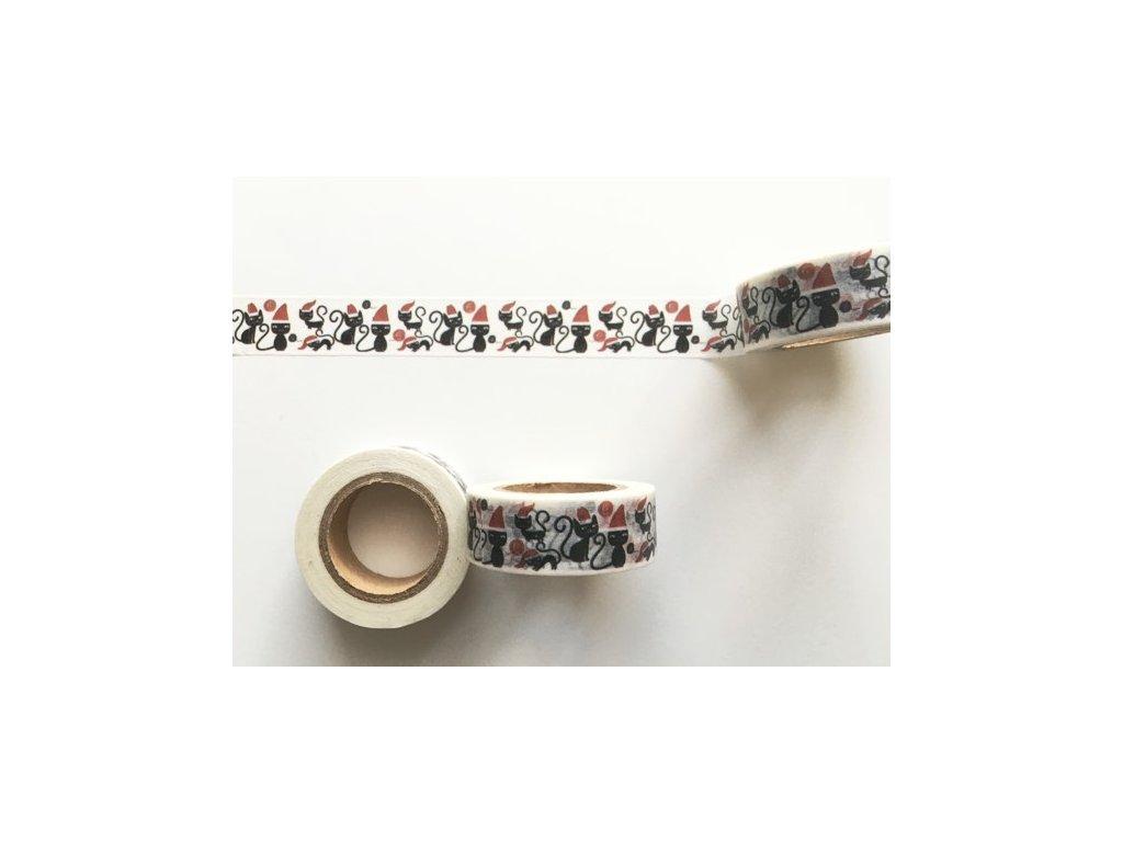 Washi páska Vánoční kočičky