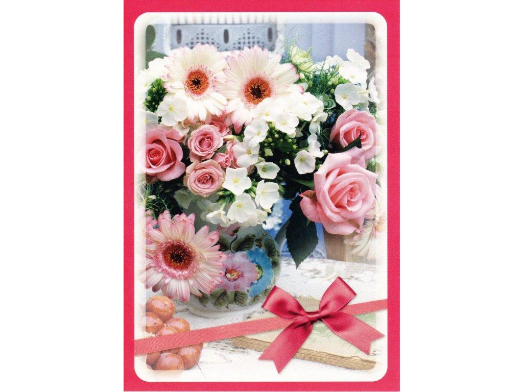 Pohlednice květiny s mašličkou 1