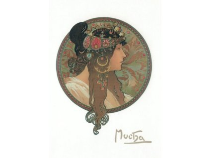 Pohlednice A. Mucha - Brunette