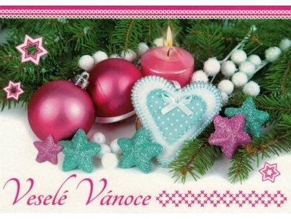 Pohlednice Vánoční - růžová