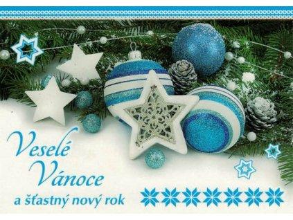 Pohlednice Vánoční - modrá