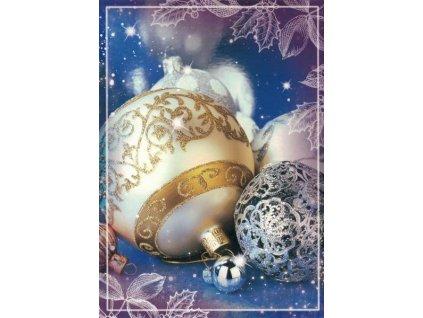 Pohlednice Vánoční ozdoby modré