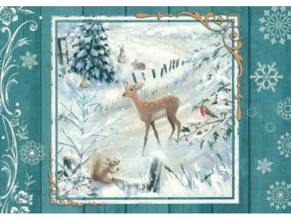 Pohlednice Vánoční lesní zvířátka